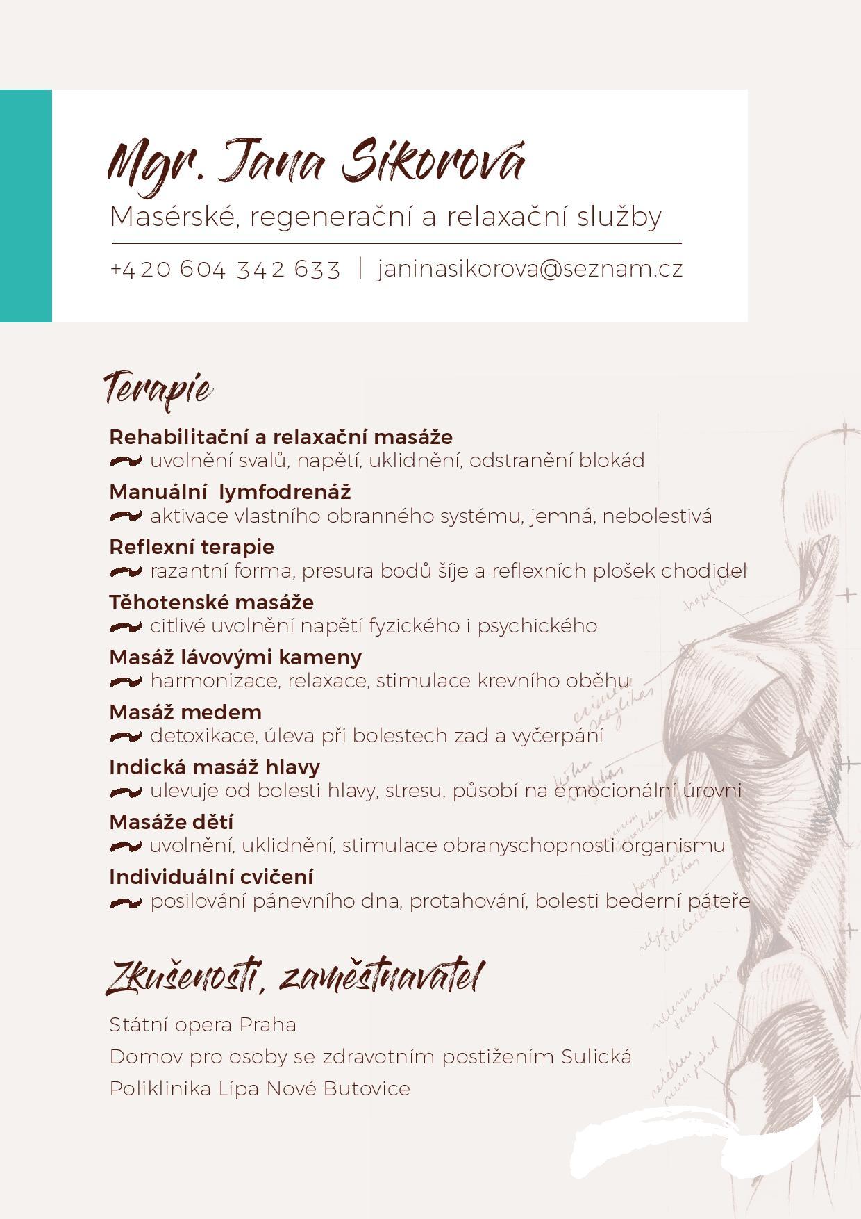 Nabídka masérské, regenerační a relaxační služby